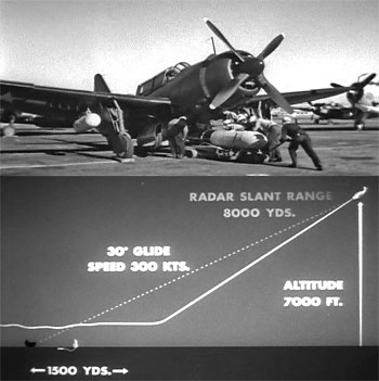 "Photo of TBF ""Avenger"" torpedo plane and torpedo launching diagram from the video ""Aerial Torpedo Attack - High Speed High Altitude"""