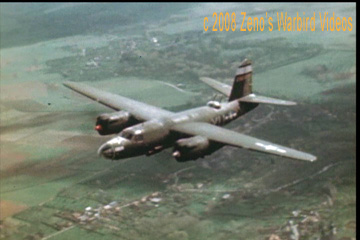 "Color photo of Martin B-26 'Marauder,"" 323rd Bombardment Group, in flight over Germany taken from the video ""White Tailed Marauders."""